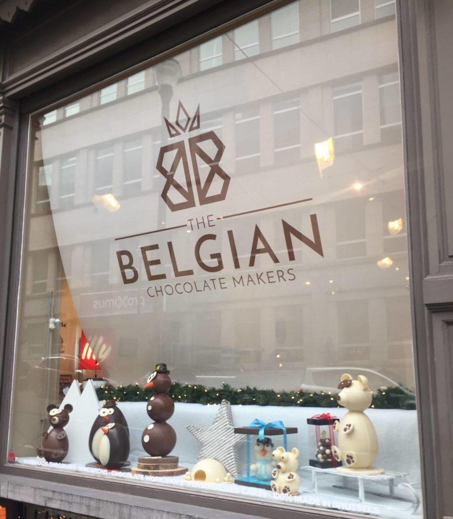 La devanture de la boutique The Belgian Chocolate Makers