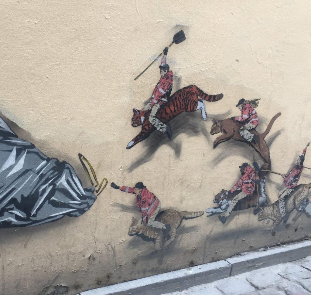 """Oeuvre """"Les Héros du quotidien""""du street artiste Jaune à Bruxelles"""